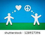 happy paper people thinking... | Shutterstock . vector #128927396