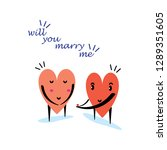 cartoon hearts funny and cute... | Shutterstock .eps vector #1289351605