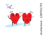 cartoon hearts funny and cute...   Shutterstock .eps vector #1289351755