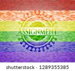 assignment on mosaic background ... | Shutterstock .eps vector #1289355385