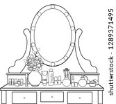 dressing table with mirror ... | Shutterstock .eps vector #1289371495