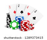playing cards near stack of... | Shutterstock .eps vector #1289373415