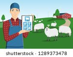 a farmer with a computer tablet ... | Shutterstock .eps vector #1289373478