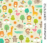 cute jungle animals with trees... | Shutterstock .eps vector #1289373712