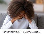 sad african american teen girl... | Shutterstock . vector #1289388058