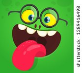 cartoon funny monster face with ... | Shutterstock .eps vector #1289416498