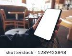 mockup image of hands holding... | Shutterstock . vector #1289423848