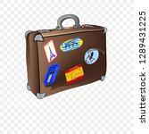 old shabby leather suitcase...   Shutterstock .eps vector #1289431225