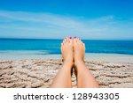 beautiful women legs on... | Shutterstock . vector #128943305