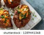roast sweet potato stuffed with ... | Shutterstock . vector #1289441368