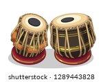 indian musical instrument tabla ... | Shutterstock .eps vector #1289443828