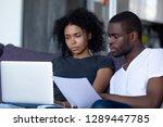 serious african american couple ... | Shutterstock . vector #1289447785