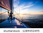 sailing at sunset. a view from... | Shutterstock . vector #1289452495