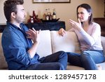 sad couple with problems at... | Shutterstock . vector #1289457178