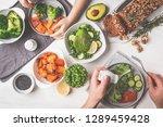 healthy vegan food lunch  top... | Shutterstock . vector #1289459428