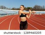 beautiful girl in sportswear...   Shutterstock . vector #1289460205