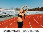 beautiful girl in sportswear...   Shutterstock . vector #1289460232