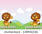 illustration of two lions in... | Shutterstock . vector #128946236
