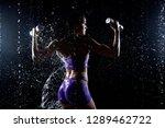 beautiful young girl in purple...   Shutterstock . vector #1289462722