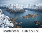 landscape drone photo of reine... | Shutterstock . vector #1289472772