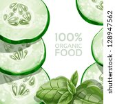 background with green cucumber... | Shutterstock .eps vector #128947562
