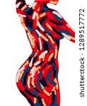 woman body oil painting. brush...   Shutterstock .eps vector #1289517772