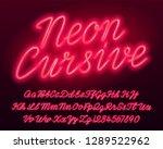 neon cursive alphabet font. red ...   Shutterstock .eps vector #1289522962