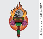 design traditional torch tattoo ... | Shutterstock .eps vector #1289542312