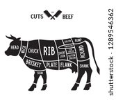 meat cuts   beef. diagrams for... | Shutterstock .eps vector #1289546362