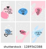 hand drawn lettering set with... | Shutterstock .eps vector #1289562388