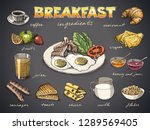 food for breakfast free hand... | Shutterstock .eps vector #1289569405