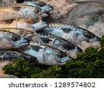 Stock photo atlantic mackerel on ice at a fishmongers in london s borough market uk 1289574802