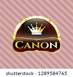 shiny emblem with queen crown... | Shutterstock .eps vector #1289584765