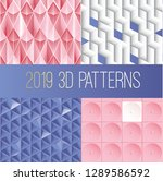 2019 3d paper paterns collection | Shutterstock .eps vector #1289586592