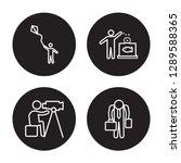 4 linear vector icon set  ... | Shutterstock .eps vector #1289588365