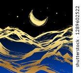 golden crescent moon  stars and ... | Shutterstock .eps vector #1289602522