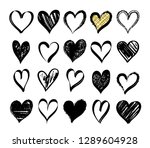 set abstract valentine's hearts.... | Shutterstock .eps vector #1289604928