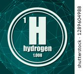 hydrogen chemical element. sign ... | Shutterstock .eps vector #1289604988