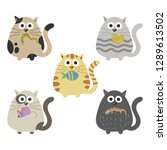 set of cats with preys in mouth ... | Shutterstock .eps vector #1289613502