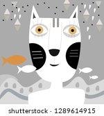 cat illustration  sitting in... | Shutterstock .eps vector #1289614915
