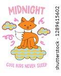 cute fox on a cloud cartoon... | Shutterstock .eps vector #1289615602