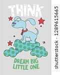 cute dog on a cloud cartoon... | Shutterstock .eps vector #1289615665