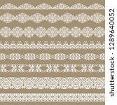 set of white borders on a beige ... | Shutterstock .eps vector #1289640052