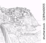 pen drawing of the ligurian... | Shutterstock .eps vector #1289640055