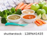 baby food. various bowls of... | Shutterstock . vector #1289641435