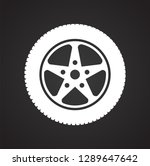 wheel icon on black background... | Shutterstock .eps vector #1289647642