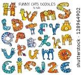 funny cats doodles set  color | Shutterstock .eps vector #128964902