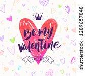 valentine's day hand drawn... | Shutterstock .eps vector #1289657848