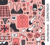 hand drawn fashion seamless... | Shutterstock .eps vector #1289670025