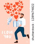 valentine's day card with happy ... | Shutterstock .eps vector #1289674822